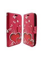 For LG Leon C40/Tribute 2 LS665/Destiny L21G/Power L22C/Risio Luxury Flip Folio Wallet Case, Flower and Hearts , Red