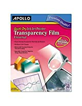 Apollo CG7033S Quick-Dry Transparency Film, Removable Sensing Stripe, Letter, Clear, 50/Box by Apollo