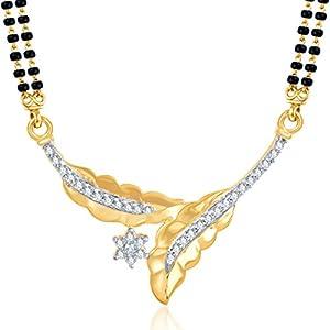 Meenaz Leaf Gold & Rhodium Plated Cz Mangalsutra Set For Women Msp747