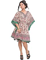 Exotic India Kaftan with Printed Paisleys and Dori at Waist - Color Green And PinkGarment Size Free Size