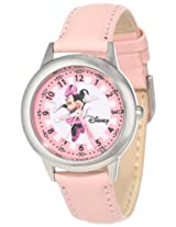 Disney Kids' W000038 Minnie Mouse Time Teacher Stainless Steel Watch with Pink Leather Band
