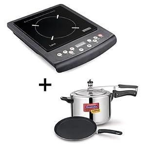 Combo of Padmini Essentia Induction Cooktop Lava + Essentia Cookplus Induction Base Pressure Cookter (3L) + Nonstick Tawa (LSP-3)