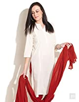 Dobby Weave Kurta With Cut-And-Sew Panel-Natural-S