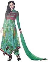 Designer Embroidered Georgette Anarkali Suit Semi-Stitched