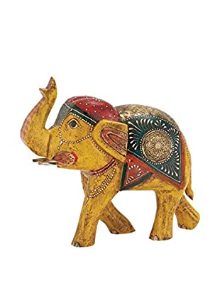 Wood and Metal Painted Elephant, Yellow