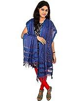 TUSSAR SHELL Women's Silk Dupatta (Blue)