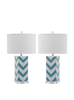Safavieh Set of 2 Chevron Stripe Table Lamps, Light Blue