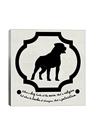 Staffordshire Terrier Black & White Gallery Wrapped Canvas Print