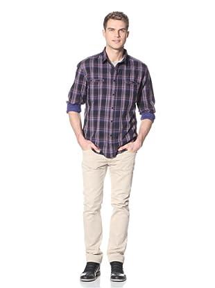 Dorsia Men's Lucas Long Sleeve Button-Up Shirt (Purple)