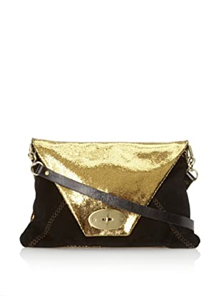 Carla Mancini Women's Oversized Clutch with Shoulder Strap (Gold/Black Suede Combo)