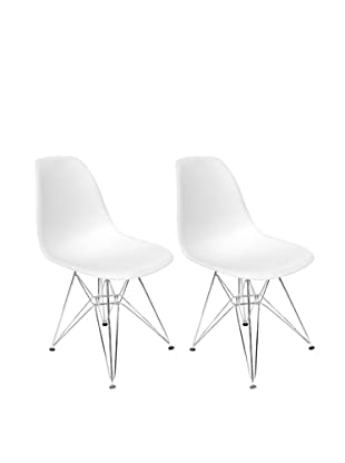 Euro Home Collection Set of 2 Paris Side Chairs, White/Silver