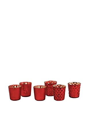 Napa Home & Garden Set of 6 Harvest Mercury Votives, Red