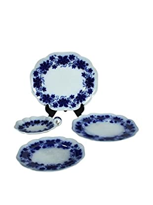 Flow Blue Vinranka 4-Piece Serving Set, Blue/White