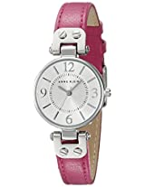 Anne Klein Women's 10/9443SVPK Silver-Tone Watch with Pink Leather Strap