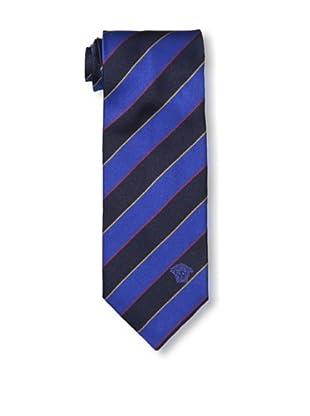 Versace Men's Striped Tie, Blue/Dark Blue