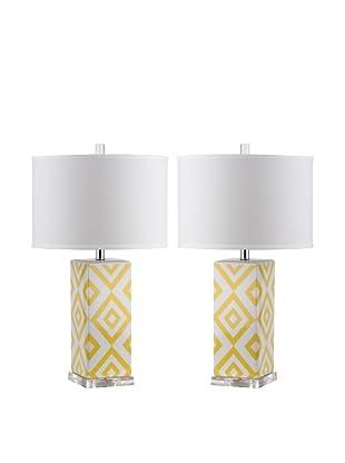 Safavieh Set of 2 Diamonds Table Lamps, Yellow