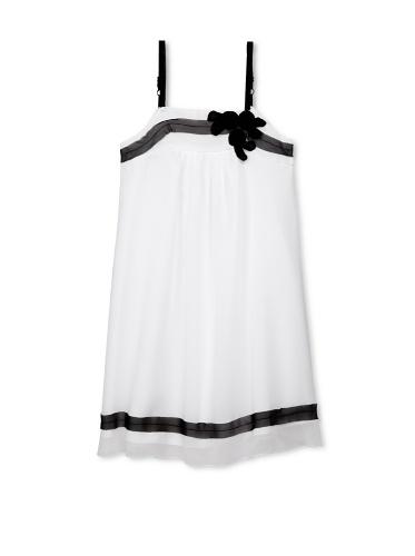 Blush by Us Angels Girl's Sleeveless Chiffon Dress with Appliqué (White/Black Ribbon)