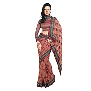 Luster 101cart Embroidered Georgette Saree - Rust