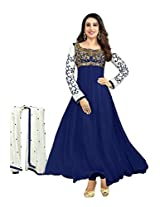 Paheli Women Georgette Navy Blue Salwar Suit Set