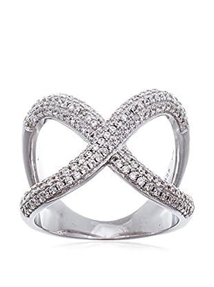 Bliss Sterling Silver Crisscross X CZ Ring