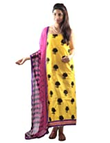 Uptown Women Cotton Yellow Unstitched Dress Material