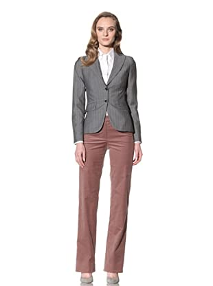 Loro Piana Women's Wool Blend Blazer (Steel Grey/White)