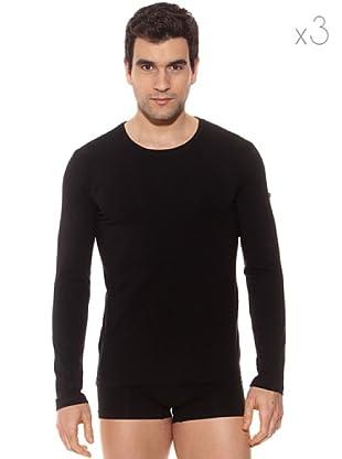 Pierre Cardin Pack 3 Camisetas Manga Larga (Negro)