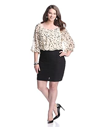 Gabby Skye Women's Polka Top Dress (Cream/Black)