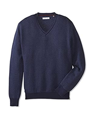 Alex Cannon Men's Long Sleeve V-Neck Modern Herringbone Sweater (Midnight Heather)