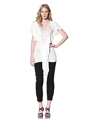 Iron Women's Jersey Top with Feather Fringe (Ivory)