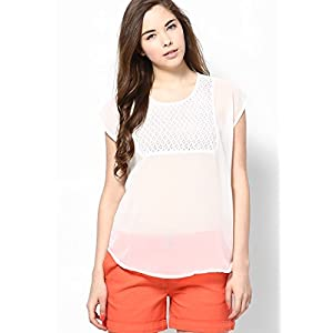 White Polyester Top With Cap Sleeves And Lace At Yoke