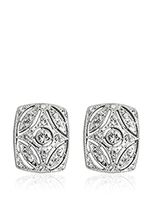 Shiny Cristal Pendientes  plata de ley 925 milésimas rodiada / Blanco
