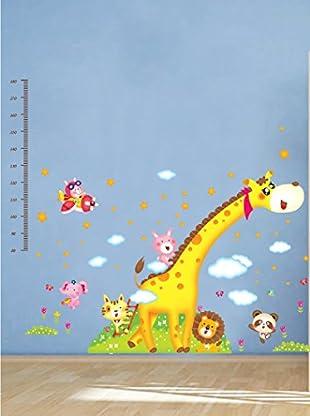 Ambiance Live Wandtattoo Giraffe and jungle animals kid meter mehrfarbig