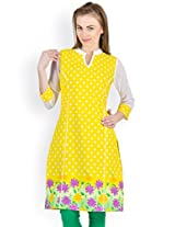 Ayaany Yellow Color Printed Casual Kurta for women