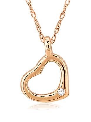 Divas Diamond Conjunto de cadena y colgante Diamond Gold Heart