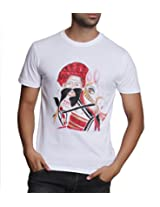 T - Shirt - Mens Tshirt - Hand Painted Rajasthani Theme - White Color