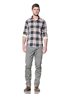 Just A Cheap Shirt Men's Thomas Plaid Button-Up Shirt (Blue/Beige)