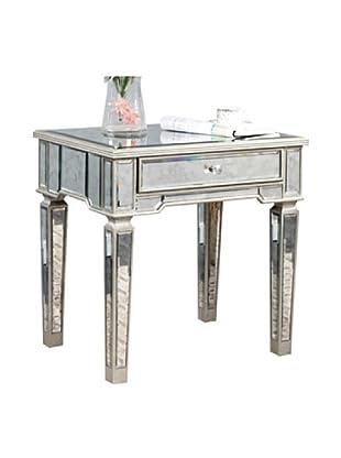 Florentine Lamp Table, Silver Leaf/Antique  Mirror