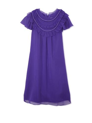 Blush by US Angels Girl's Chiffon Necklace Dress (Purple)