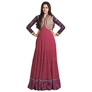 Long Gown Style Dark Pink & Blue Georgette Top With Santoon Bottom & Chiffon Dupatta with Heavy Embroidery Work Anarkali Salwar Kameez Suit