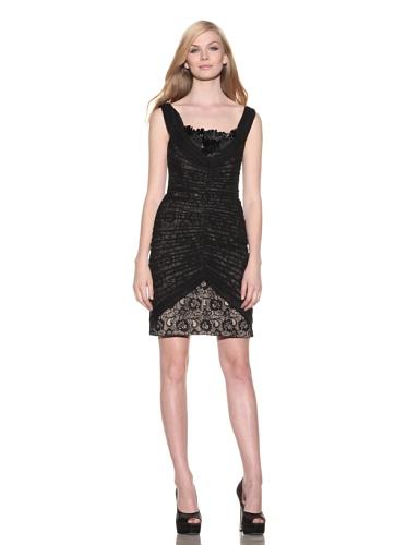 Christian Siriano Women's Chiffon & Lace Cocktail Dress (Black/Nude)
