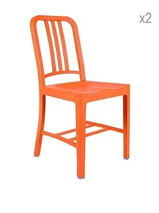 Lo+deModa Set De 2 Sillas Line Naranja