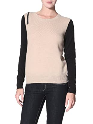 Shae Women's Cashmere Sweater with Zip (Twine/Black)