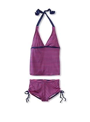 Splendid Girl's Malibu Stripe Tankini/Boy Short Swimsuit (Navy/Fuchsia)