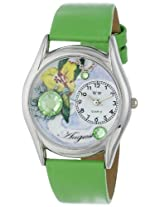 Whimsical Watches Women's S0910008 Imitation Birthstone: August Green Leather Watch