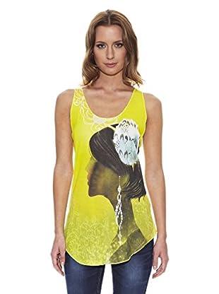 Peace & Love Camiseta Estampada (Amarillo)