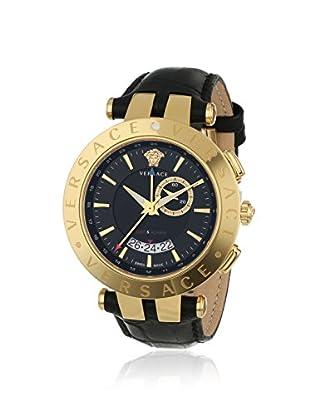 Versace Men's 29G70D009 S009 V-Race Gold/Black Leather Alarm Watch