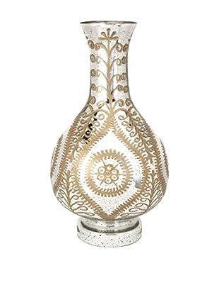 Carmina Oversized Etched Glass Vase, Distressed Gold