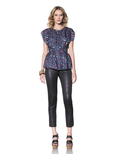 Anna Sui Women's Poppies and Daisies Printed Top (Navy)