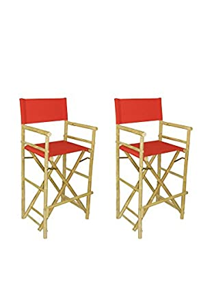 ZEW, Inc. Set of 2 Bamboo High Director Chairs, Red
